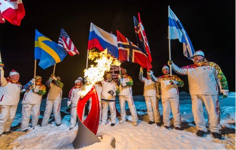 The Olympic Flame burns at the North Pole